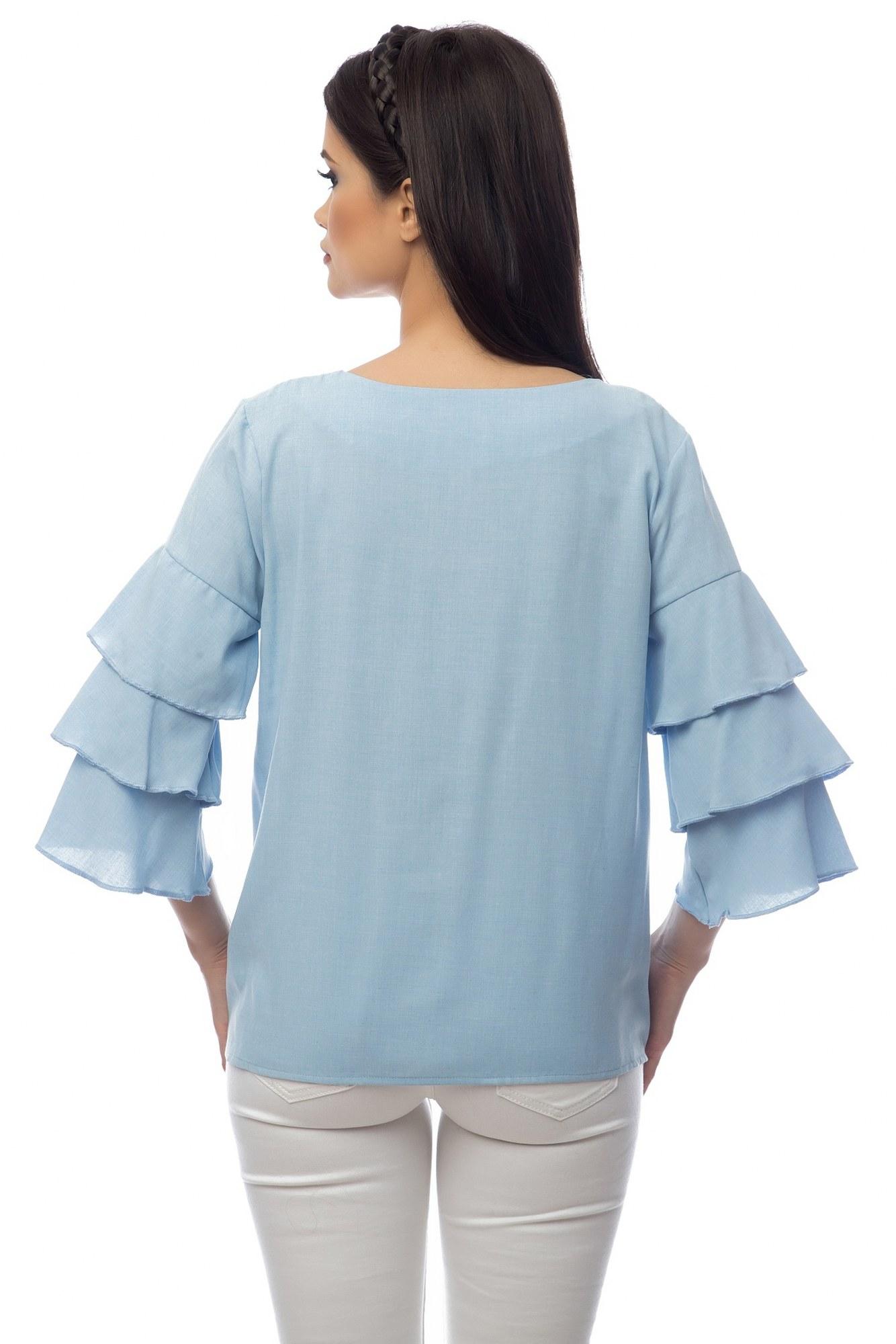 Bluza bleu maneci cu volane si pictura manuala