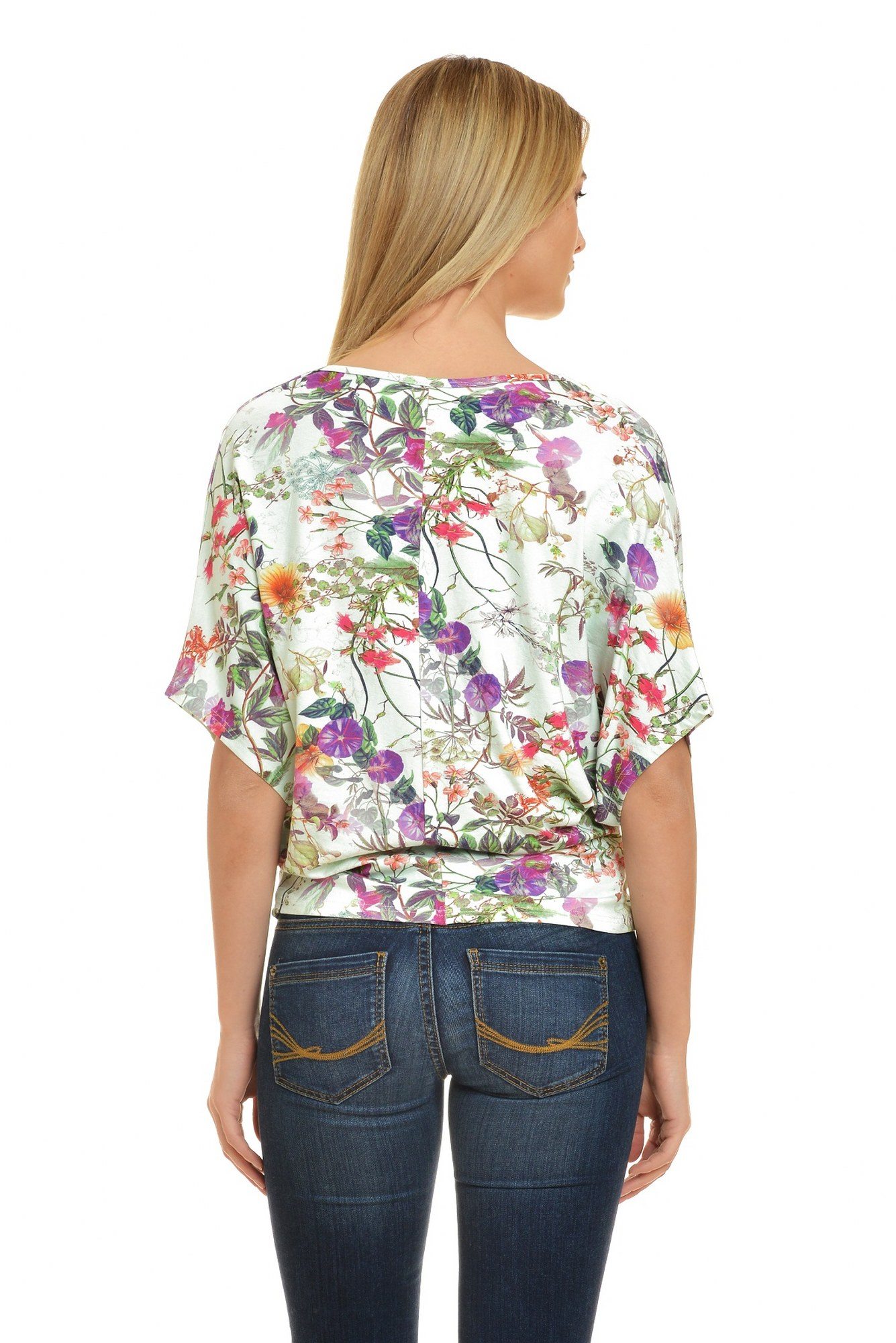Bluza alba drapata imprimeu floral