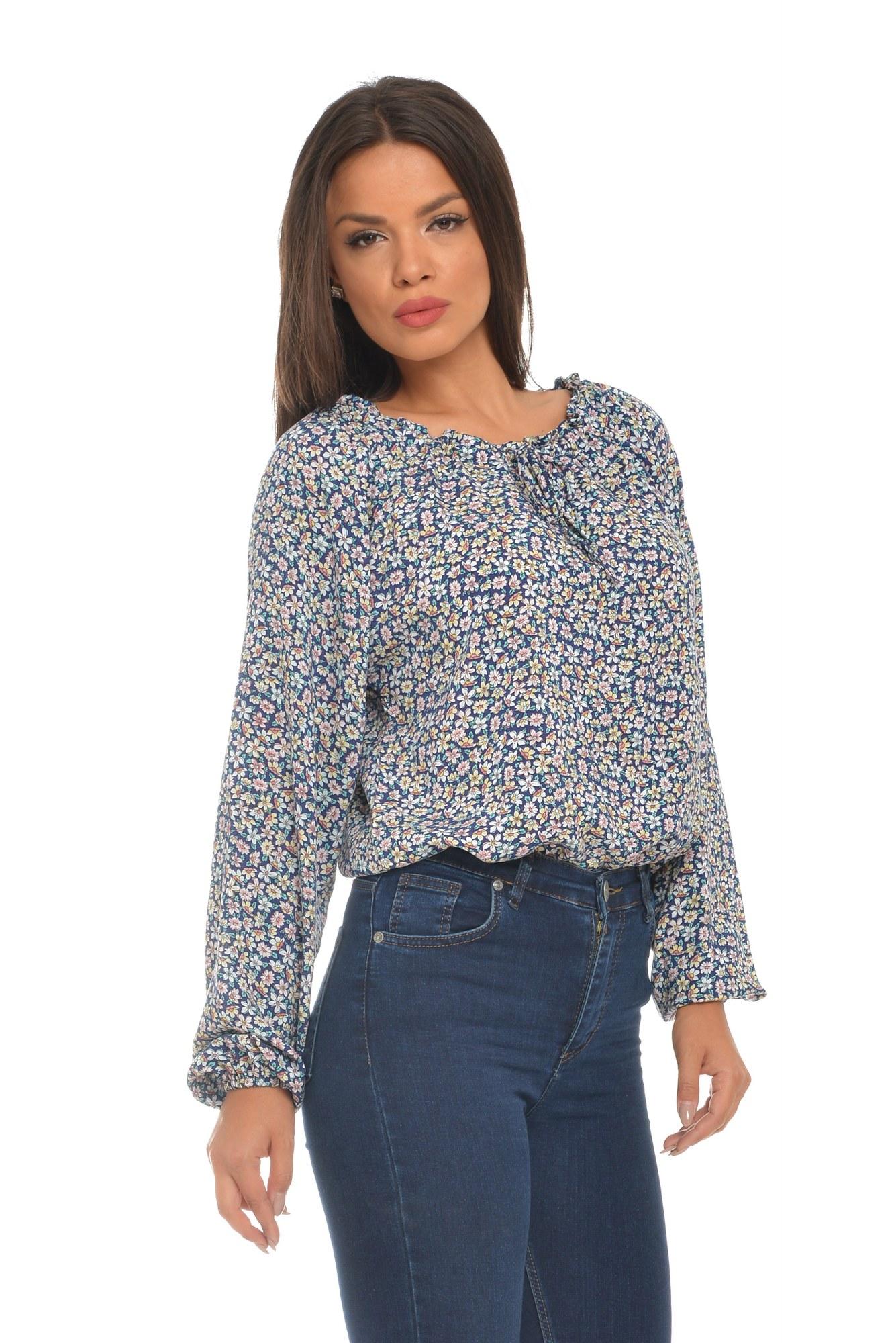Bluza bleumarin tip iie imprimeu floral