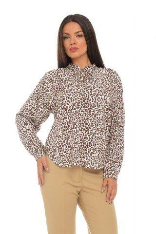 Bluza imprimeu leopard cu guler