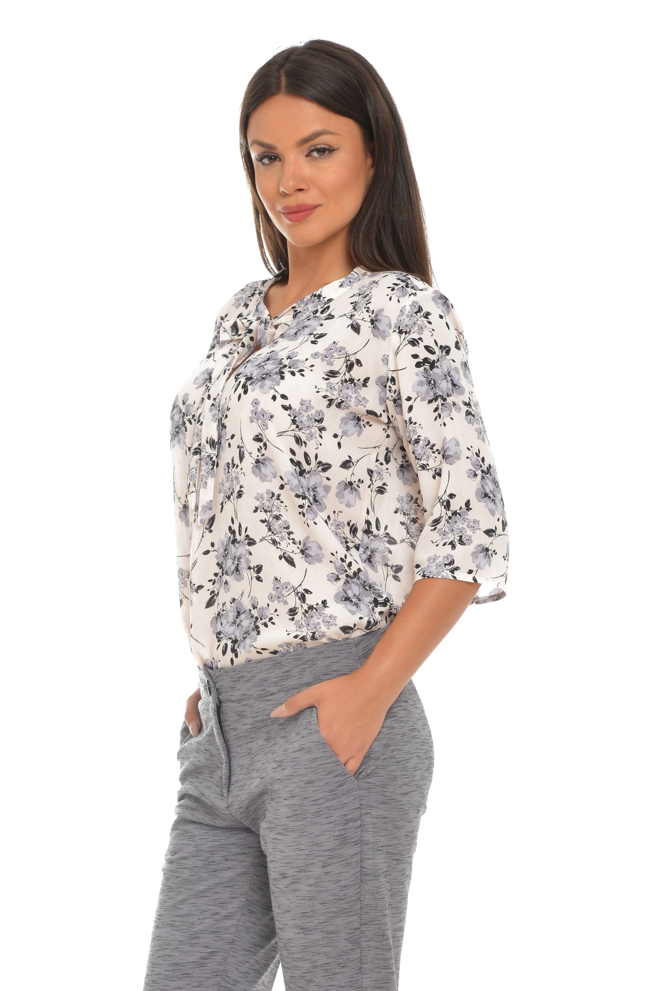 Bluza alba imprimeu floral si funda