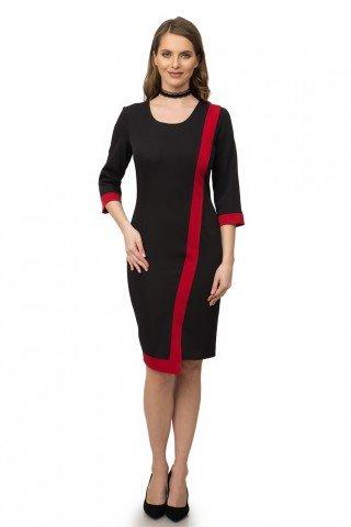 Rochie conica asimetrica neagra cu rosu