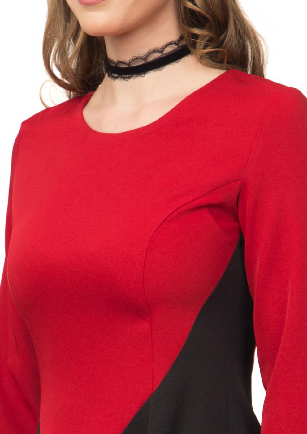 Rochie in clos rosu cu negru