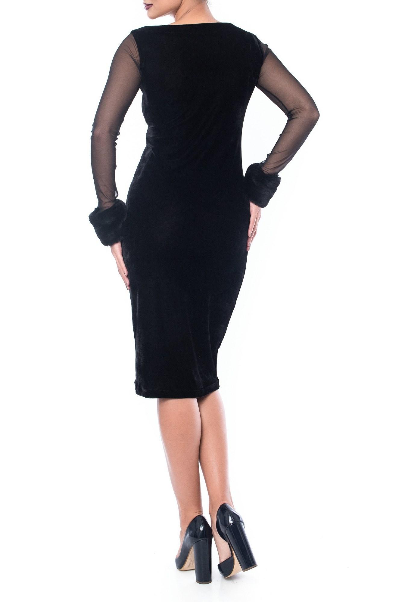 Rochie neagra de seara din catifea cu maneci tulle