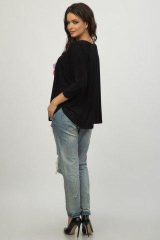 Bluza neagra larga cu aplicatie CBM1197