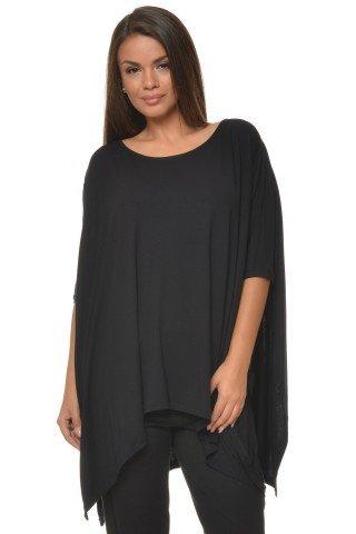 Bluza larga neagra asimetrica tip poncho  CBM1068