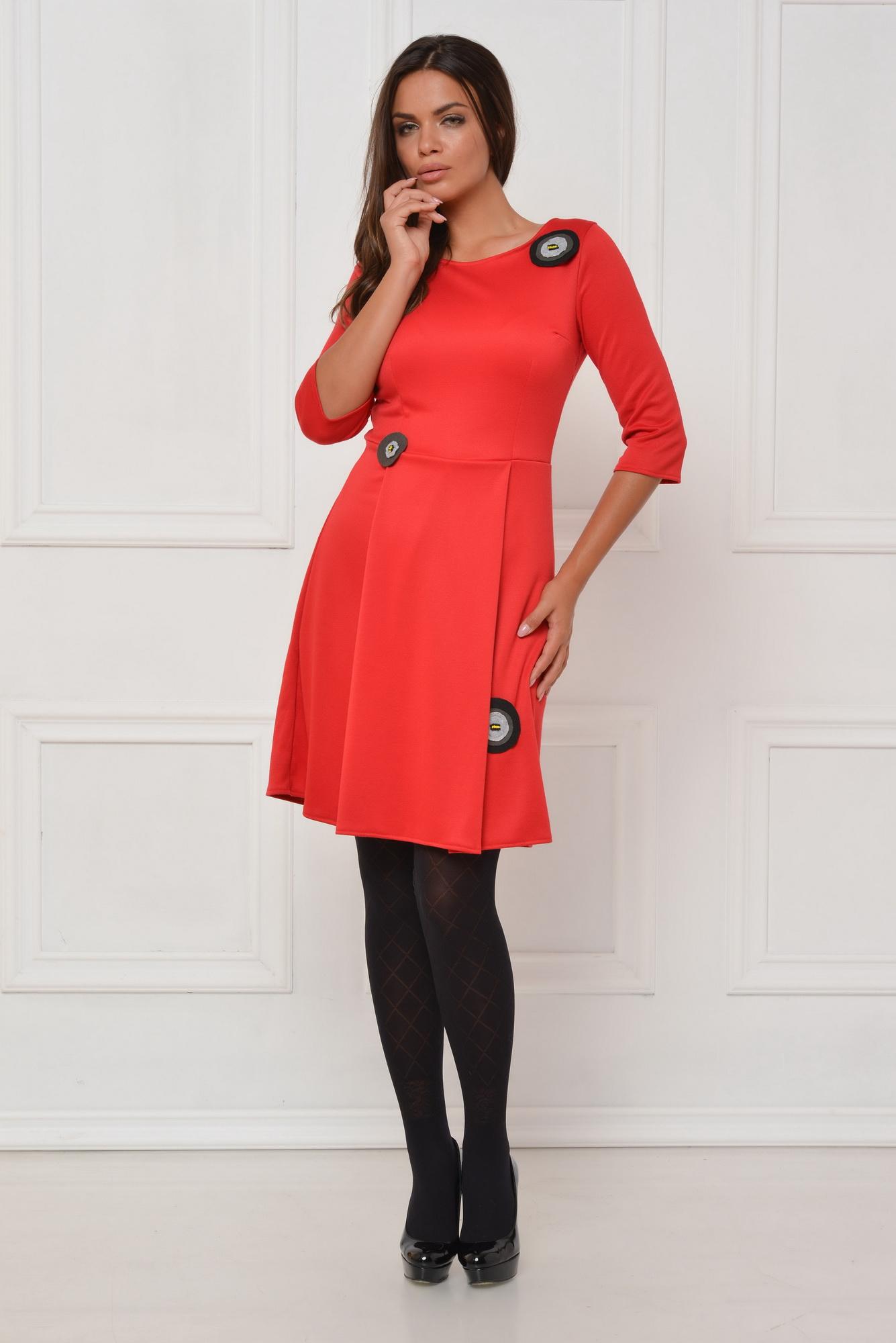 Rochie de zi rosie cu maci din fetru aplicati CBM1043