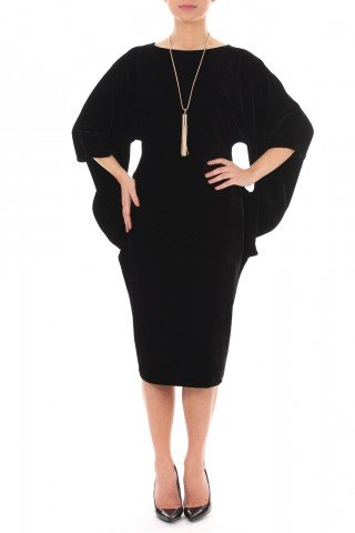 Rochie neagra din catifea cu decupaje