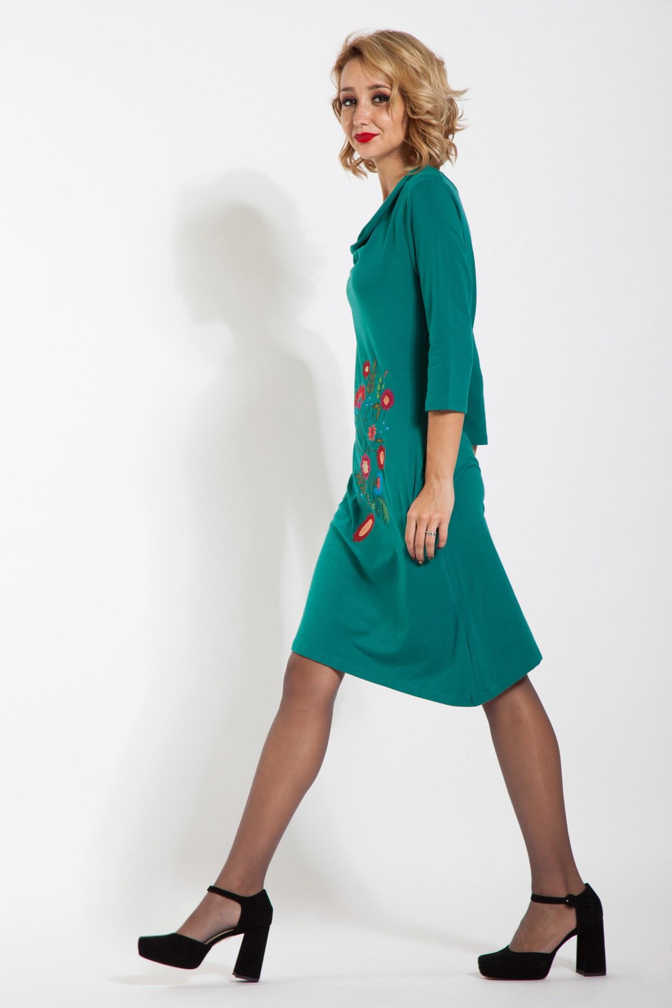 Rochie verde asimetrica brodata
