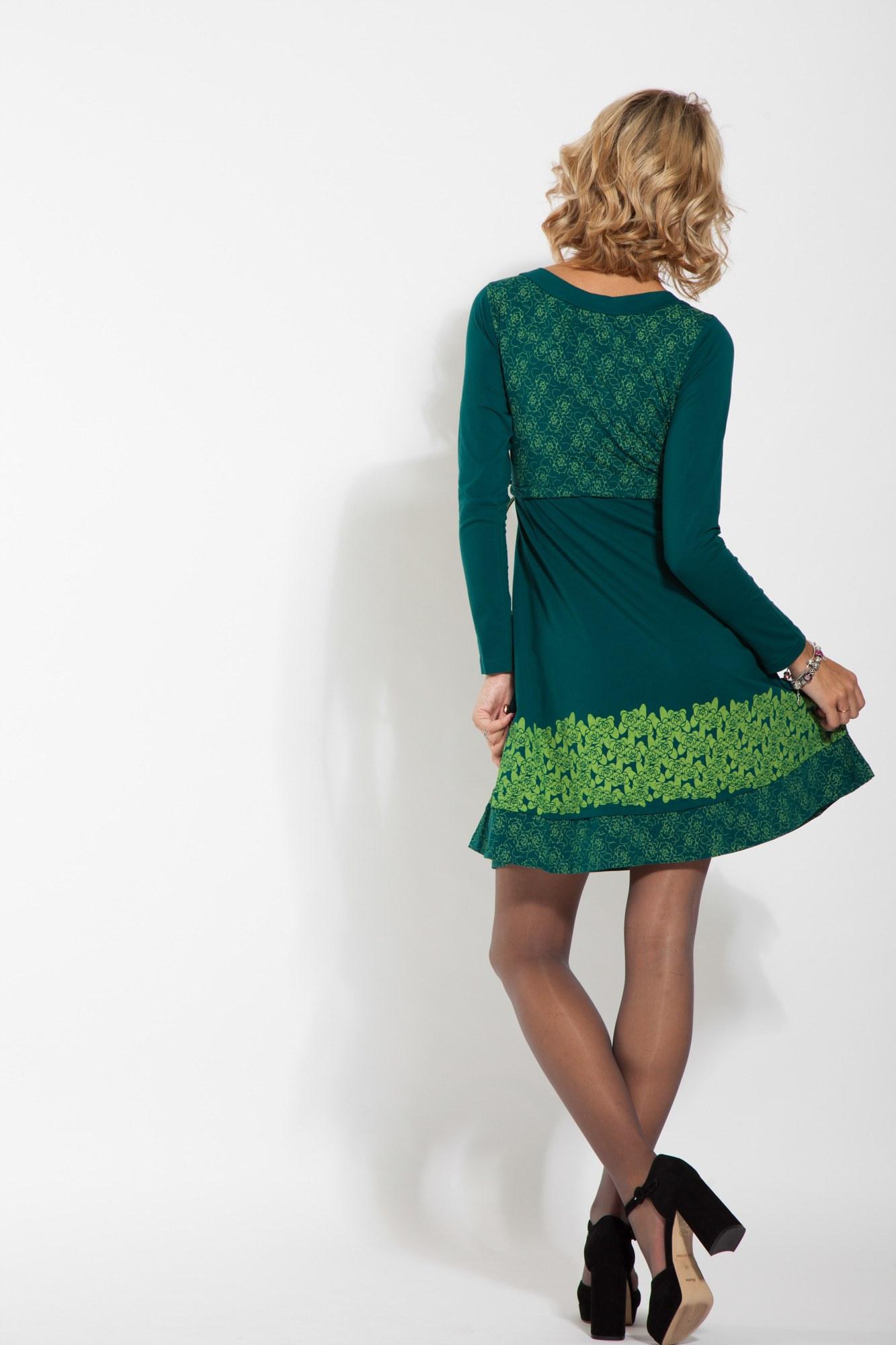 Rochie verde bumbac Infinity imprimata