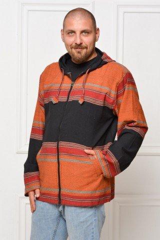 Jacheta de bumbac cu gluga orange - negru