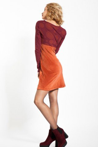 Rochie caramizie catifea Amira imprimata