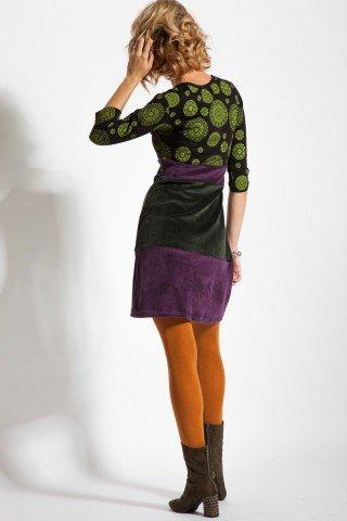 Rochie catifea doua culori imprimata