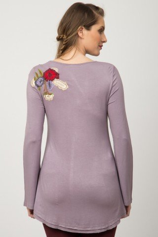 Bluza lila vascoza Inga brodata