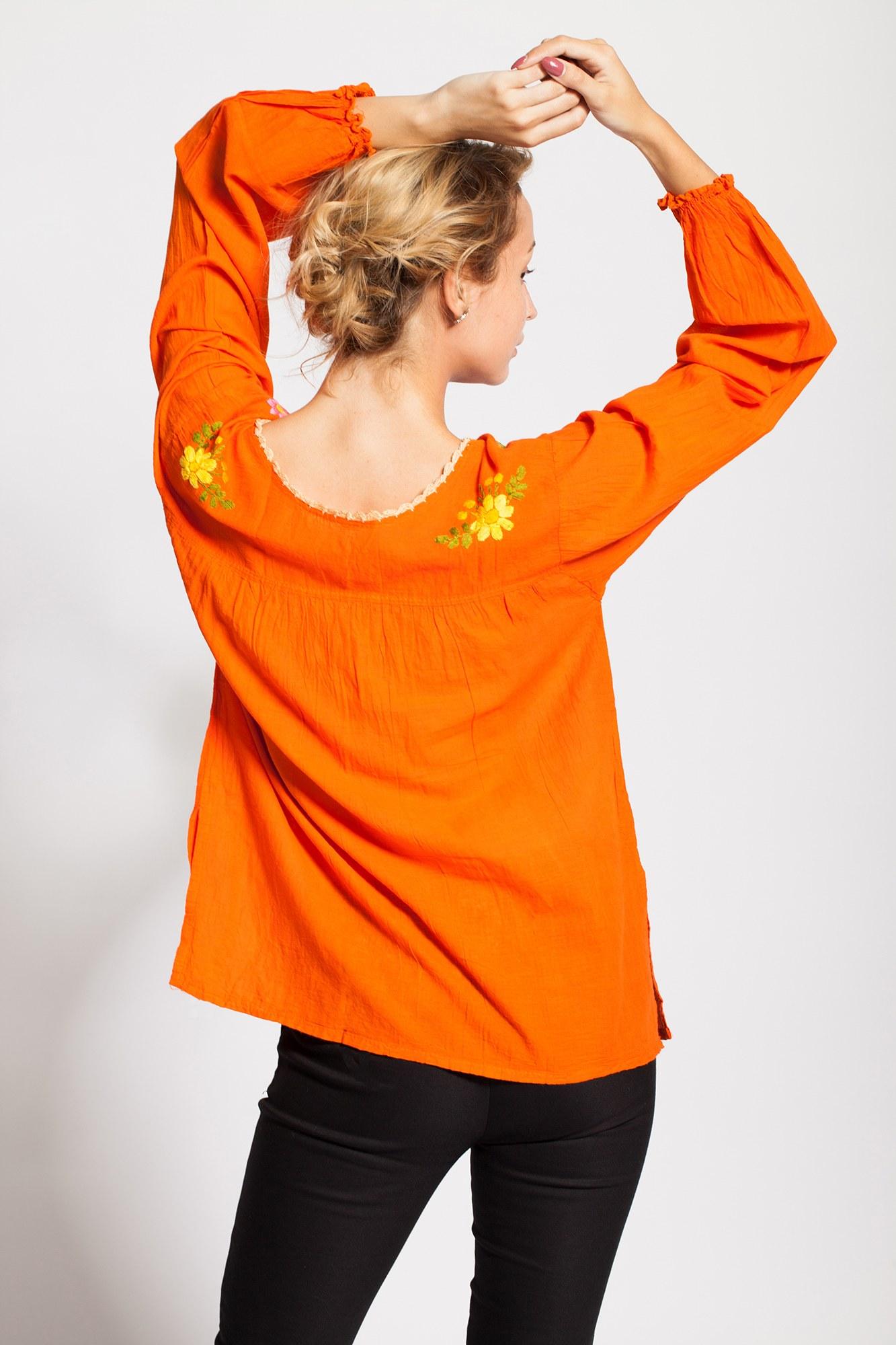 Bluza portocalie tip iie brodata manual