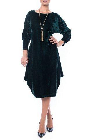 Rochie verde din catifea cu falduri