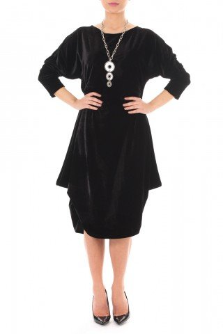 Rochie negra din catifea cu falduri