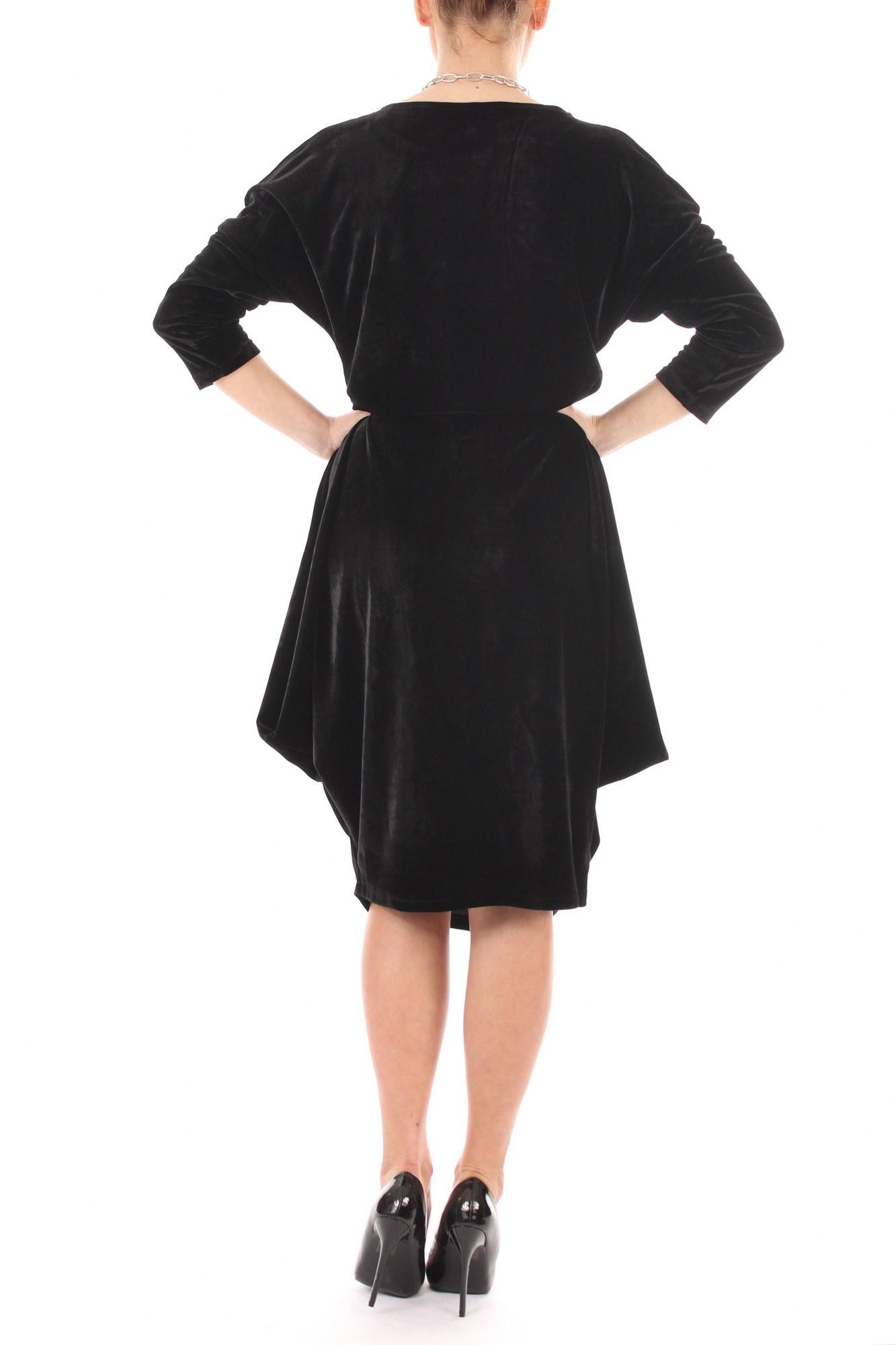 Rochie neagra din catifea cu falduri