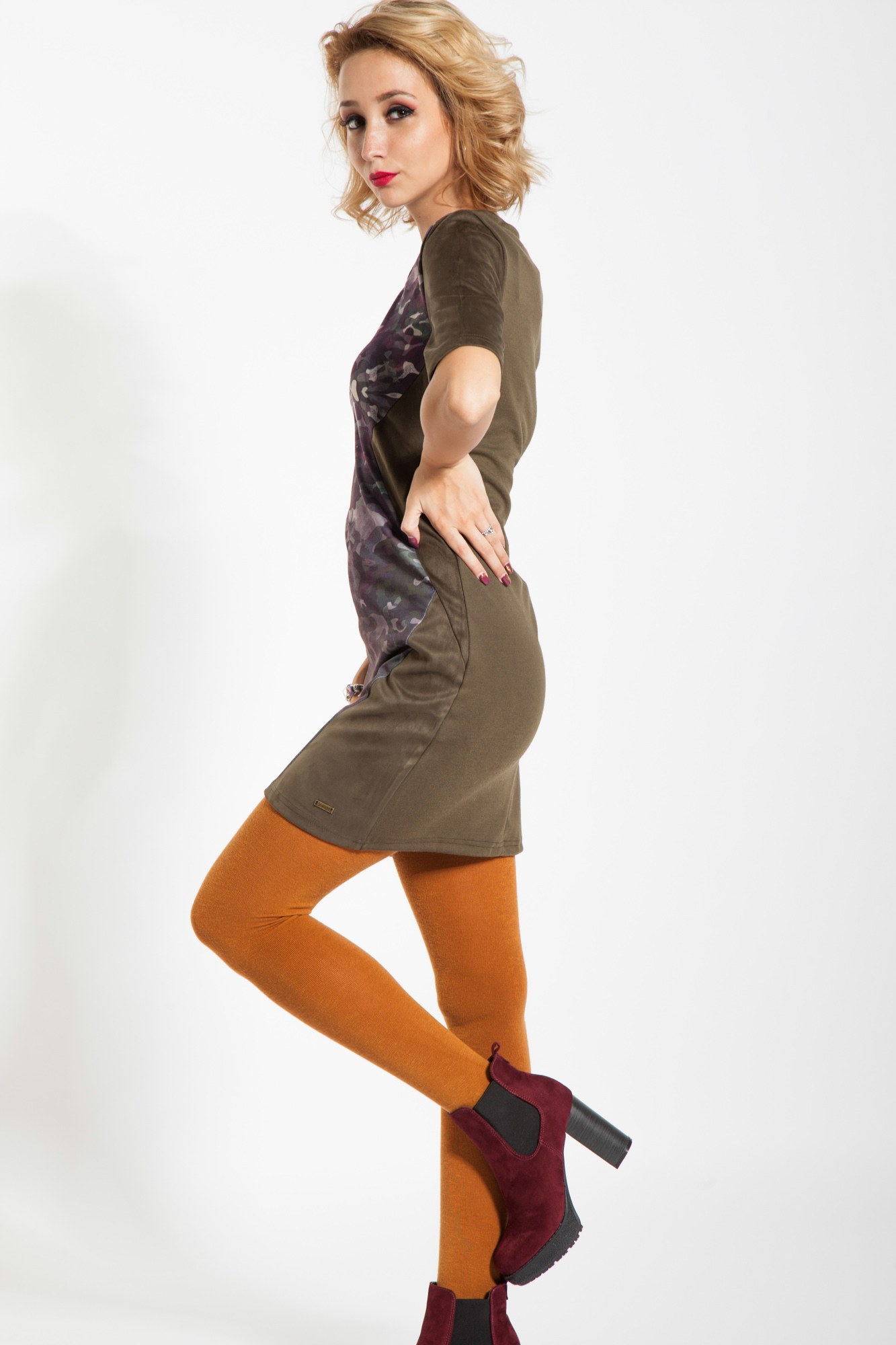 Rochie kaki Mercat insertii piele intoarsa