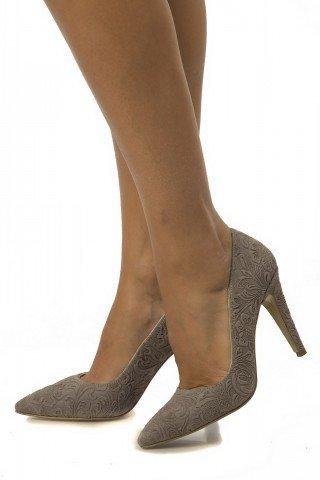 Pantofi beige eleganti din piele cu presaj floral PS02
