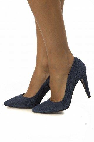 Pantofi albastri eleganti din piele cu presaj floral PS01