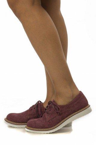 Pantofi grena cu talpa joasa din piele cu presaj floral PO02