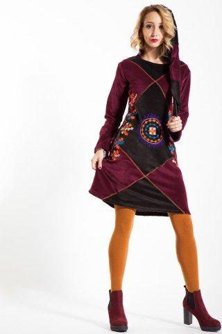 Rochie casual catifea bordo cu gluga de elf