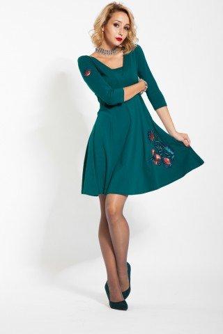 Rochie verde-turcoaz tip cloche cu broderie florala