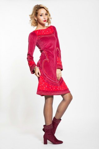 Rochie catifea rosie Serenity casual