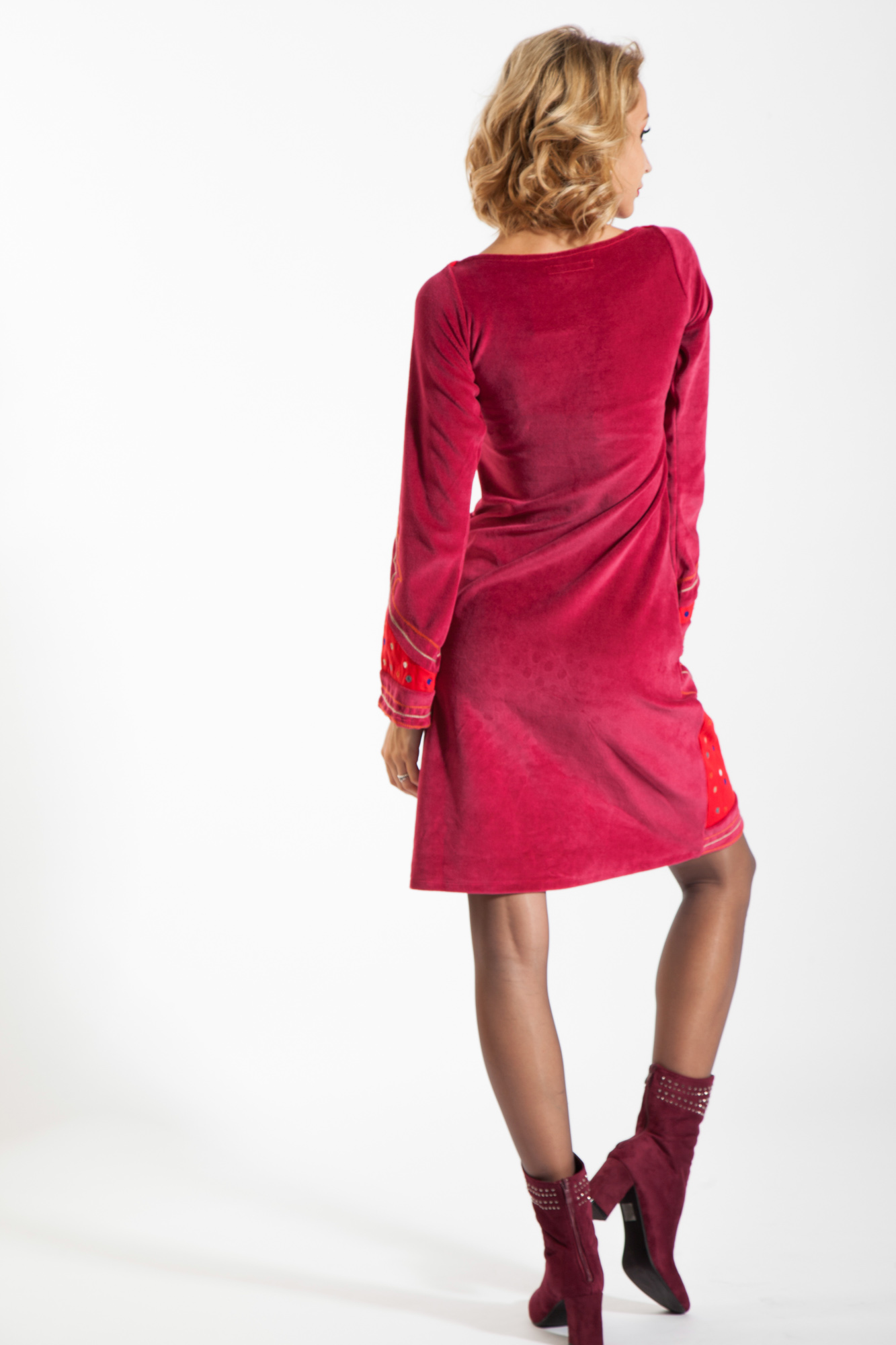 Rochie catifea rosie Serenity casual