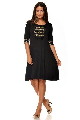 Rochie neagra de zi cu imprimeu etno CBM1026