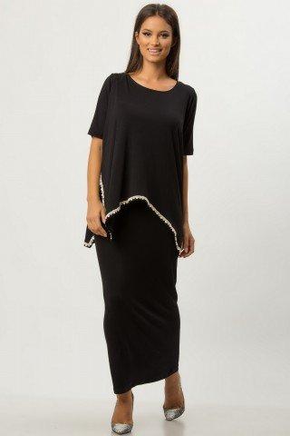 Rochie lunga neagra cu dantela aplicata CBM1281