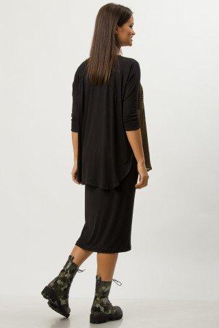 Rochie de zi neagra cu imprimeu digital CBM1278