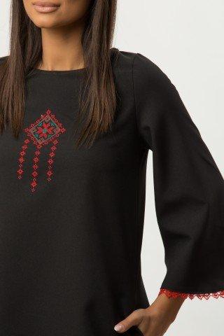 Rochie de zi neagra cu broderie etno CBM1275