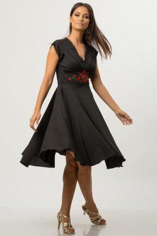 Rochie de zi retro neagra cu broderie multicolora CBM1272