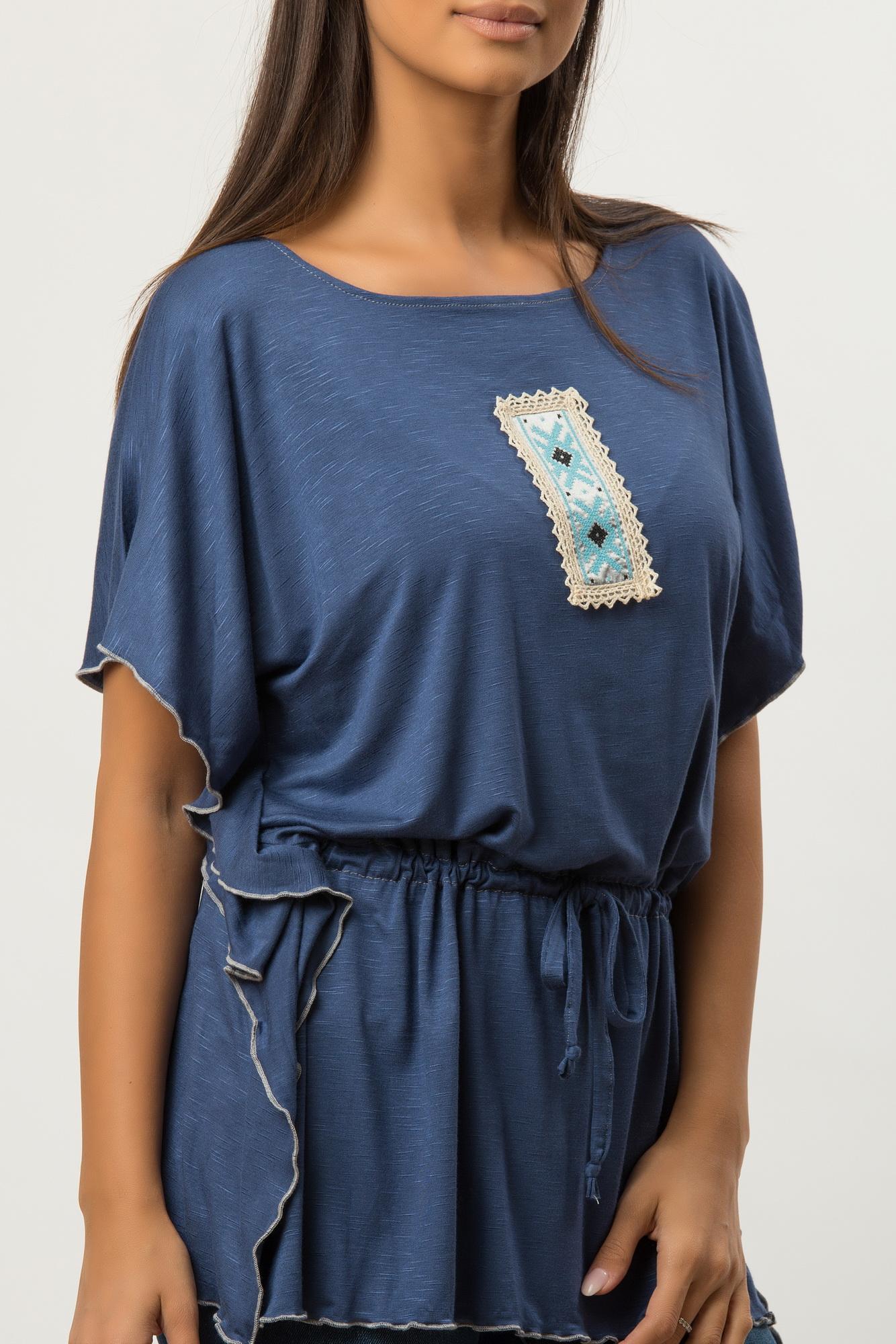 Bluza albastru denim larga cu aplicatie etno brodata CBM1260