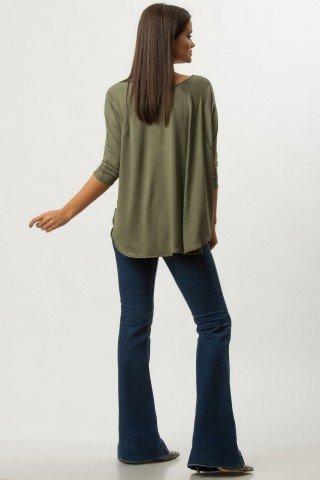 Bluza larga kaki cu insertie imprimata digital CBM1259