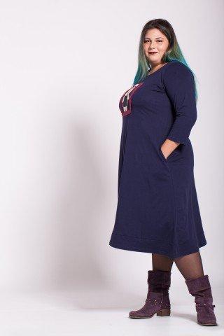 Rochie bleumarin lunga Ayda aplicatie ursulet