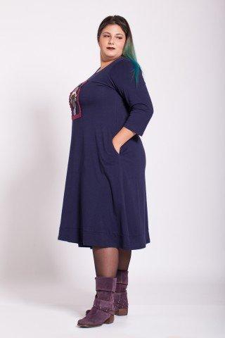 Rochie bleumarin lunga Ayda aplicatie fetita