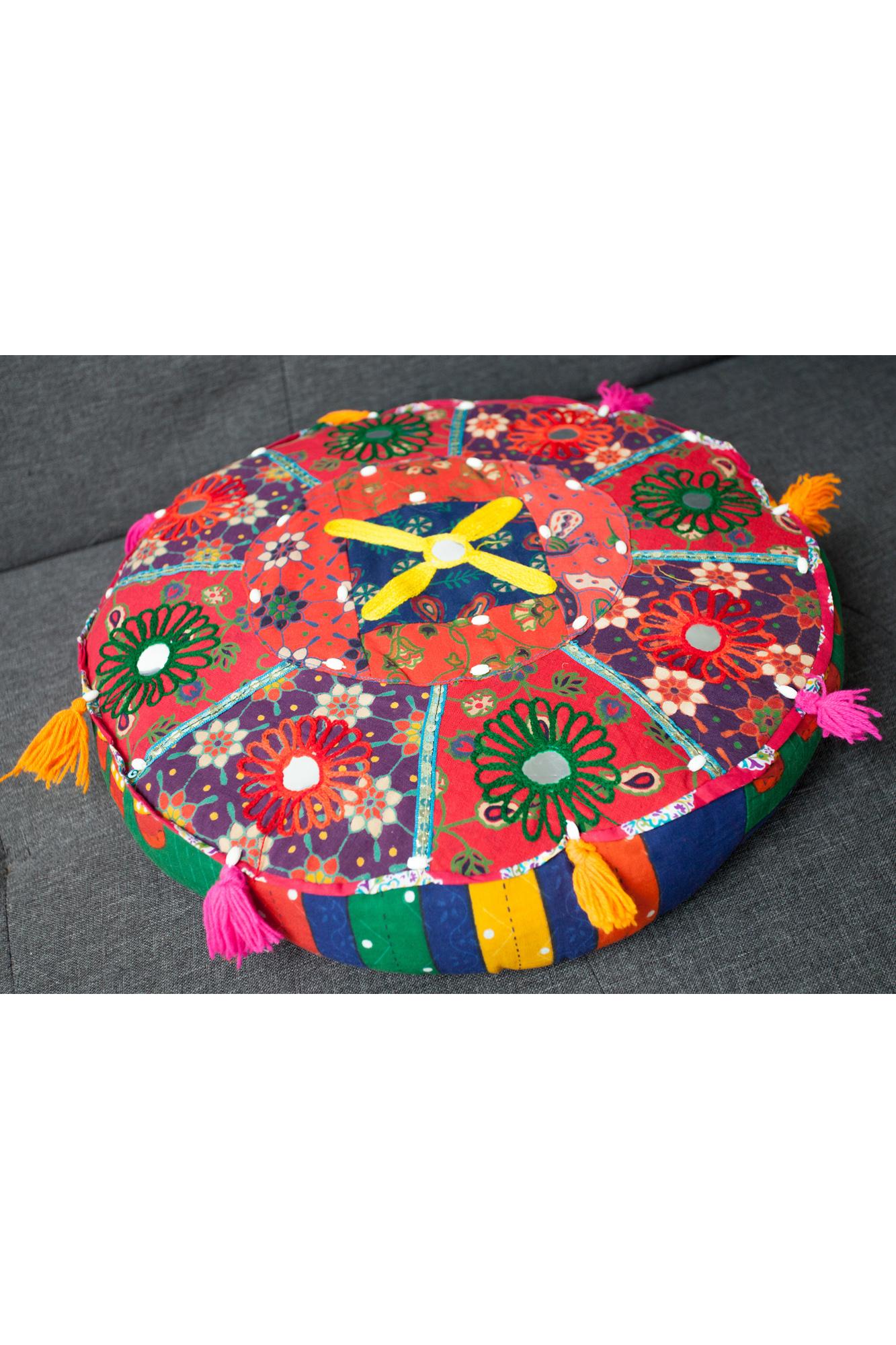 Perna rotunda multicolora decorativa brodata
