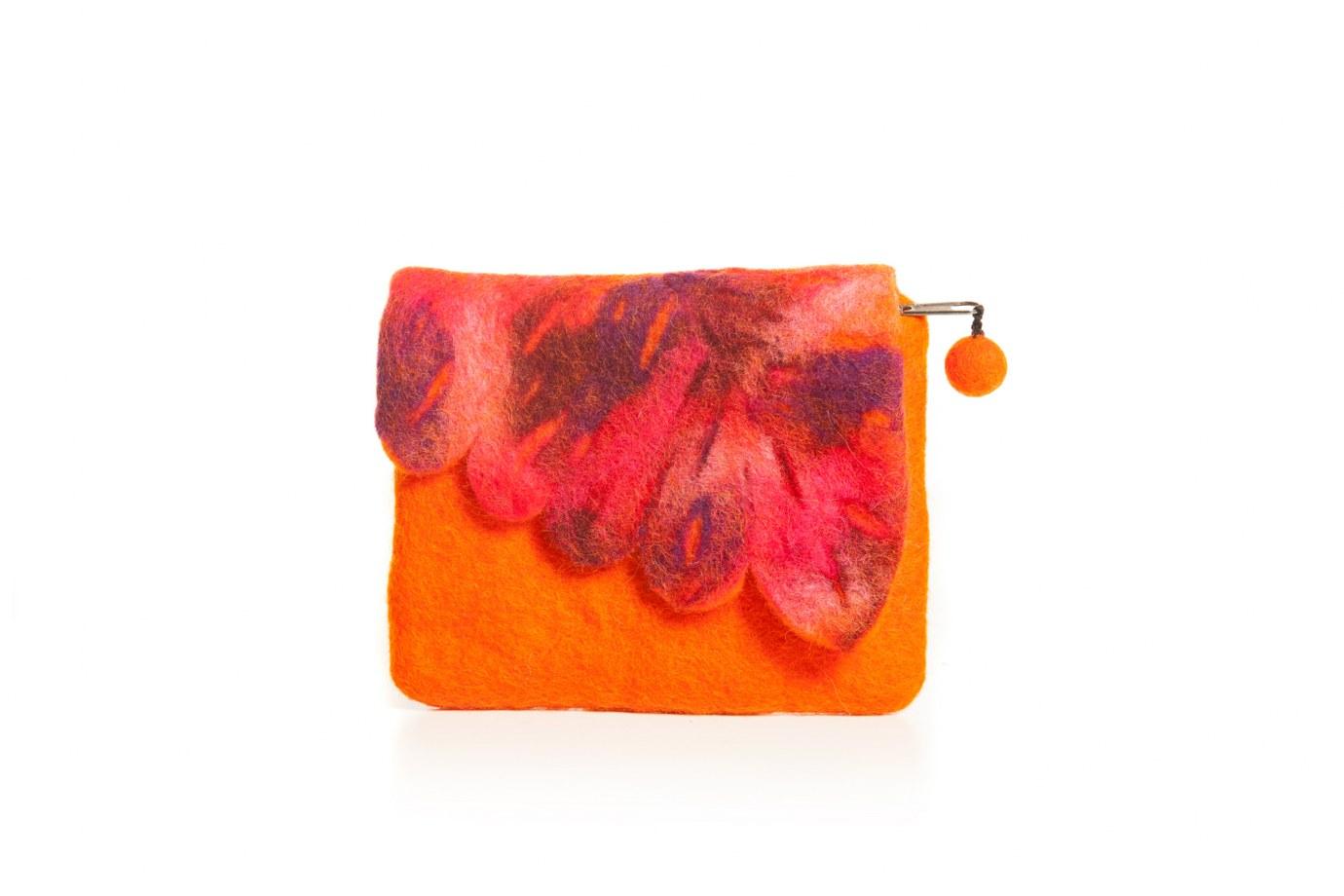 Portofel portocaliu din fetru frunza