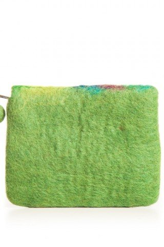 Portofel verde din fetru frunza