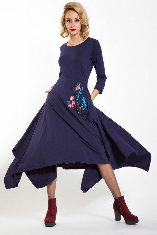 Rochie bleumarin casual Luxy brodata