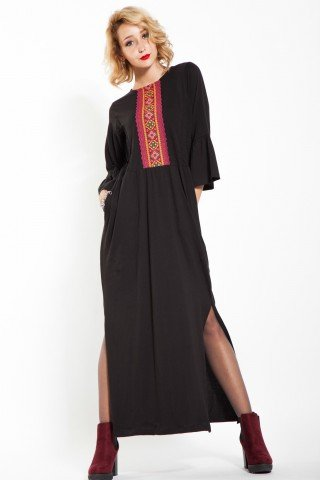 Rochie neagra lunga Agata maneci clopot