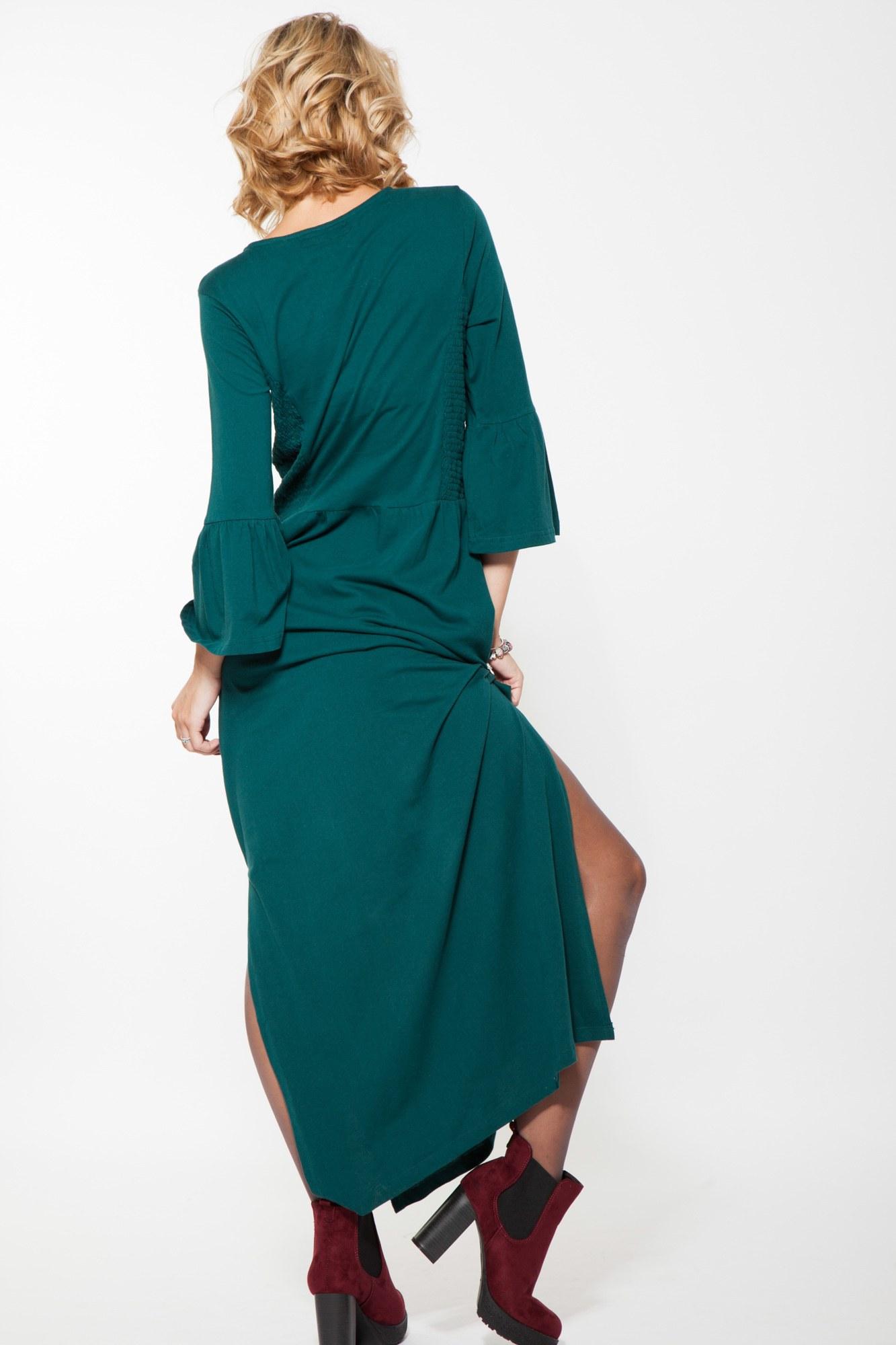 Rochie verde lunga Agata maneci clopot