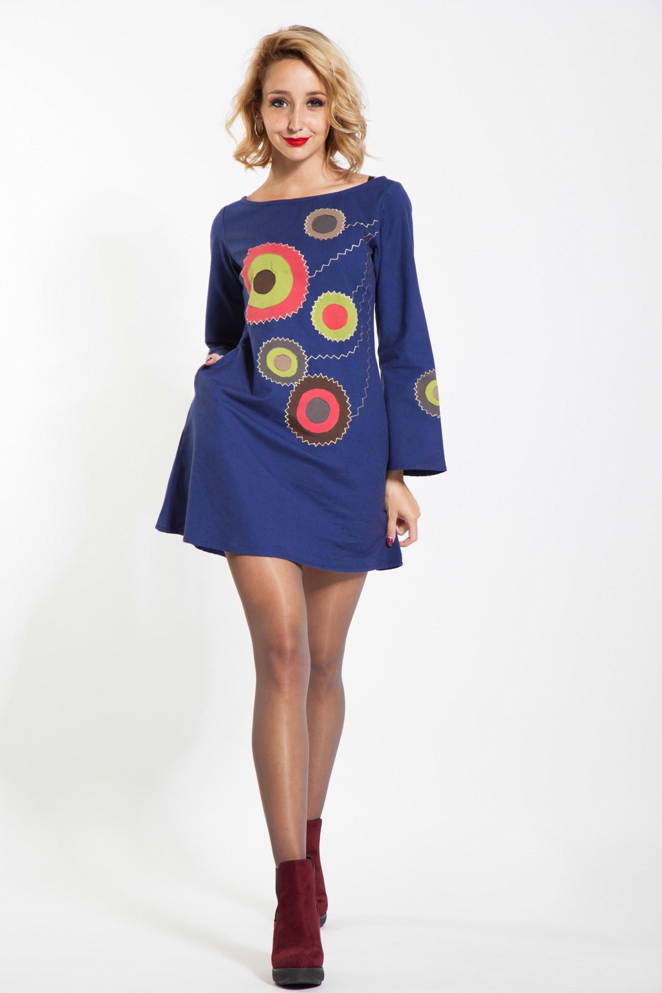 Rochie albastra scurta Kroga aplicatie cercuri