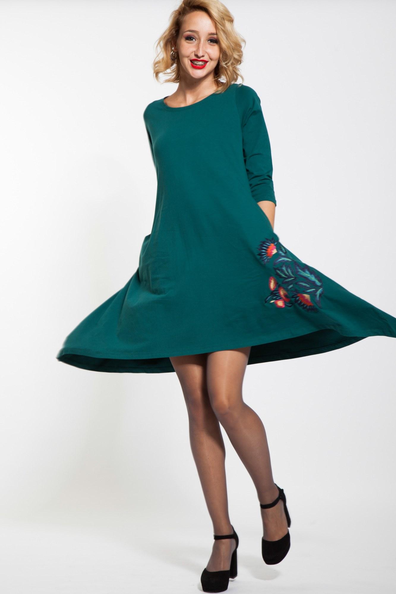 Rochie verde asimetrica Aspasis brodata