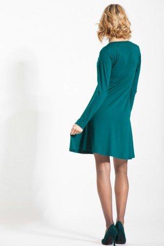 Rochie verde bumbac Amita cu aplicatie