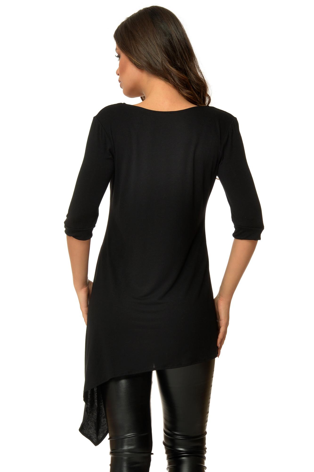 Bluza neagra asimetrica cu maci aplicati CBM1007