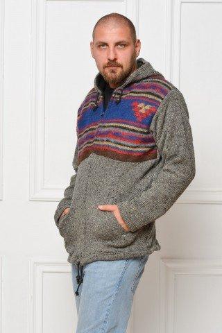 Jacheta lana dubla polar cu gluga si insertii - gri